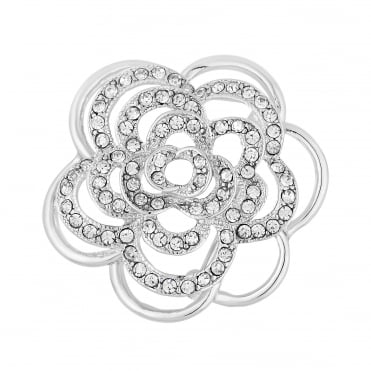 Silver crystal floral pave brooch