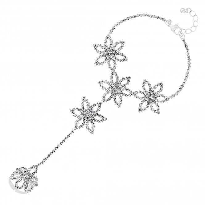 Silver Crystal Floral Statement Hand Chain