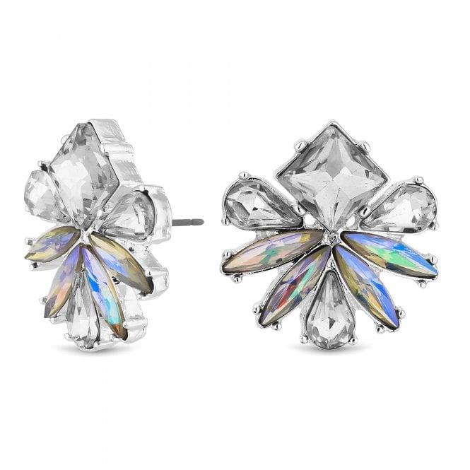 Silver Crystal Floral Stud Earring