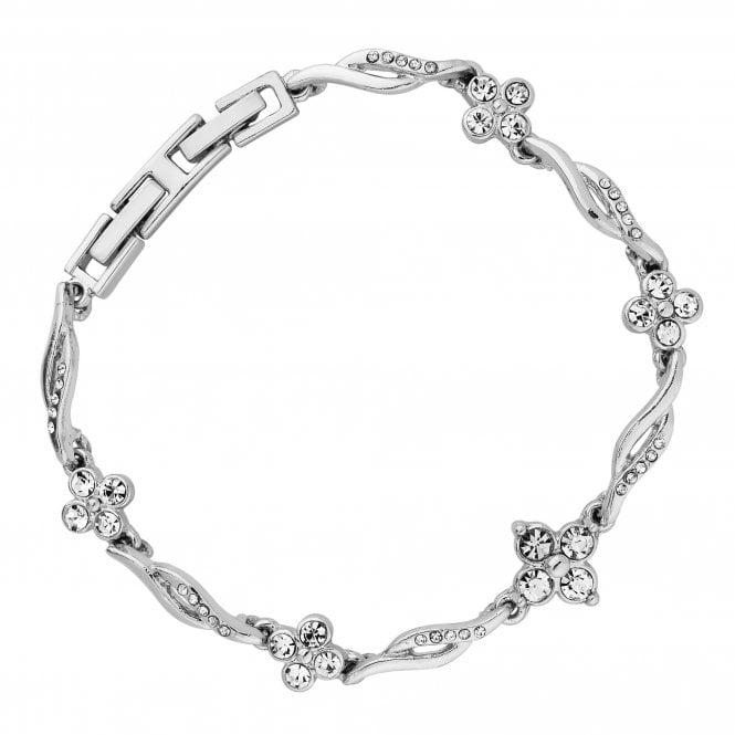 Silver Crystal Floral Wave Bracelet