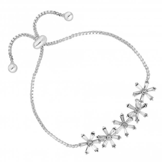 Silver Crystal Flower Toggle Bracelet