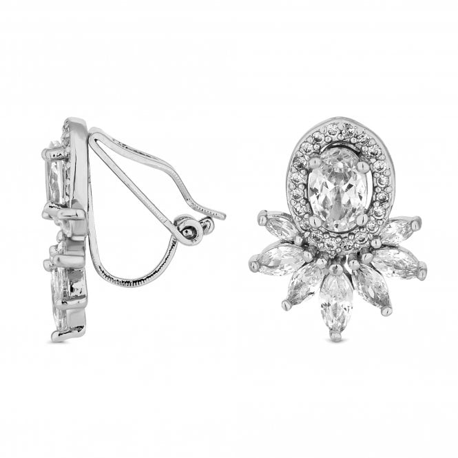 Jon Richard Silver Crystal Halo Clip On Earring