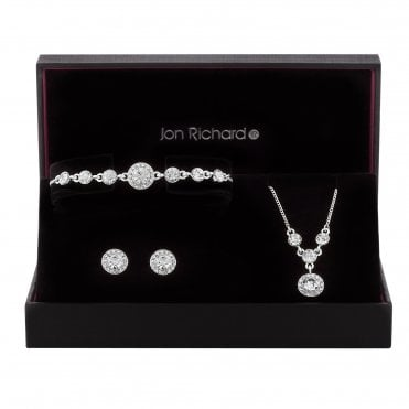 Silver Crystal Halo Jewellery Set In A Gift Box