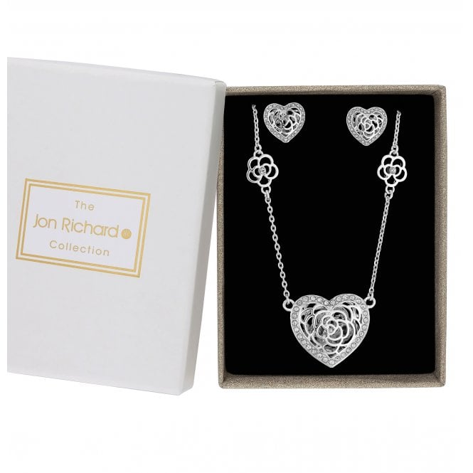 Silver Crystal Heart Shaker Jewellery Set