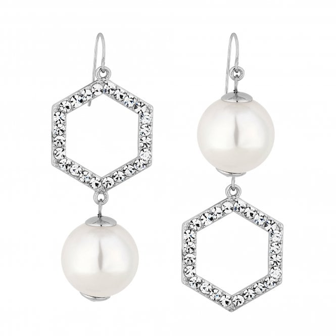 Silver Crystal Hexagon And Pearl Mismatched Drop Earring