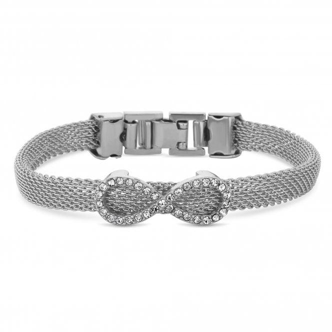 Silver Crystal Infinity Charm Mesh Bracelet