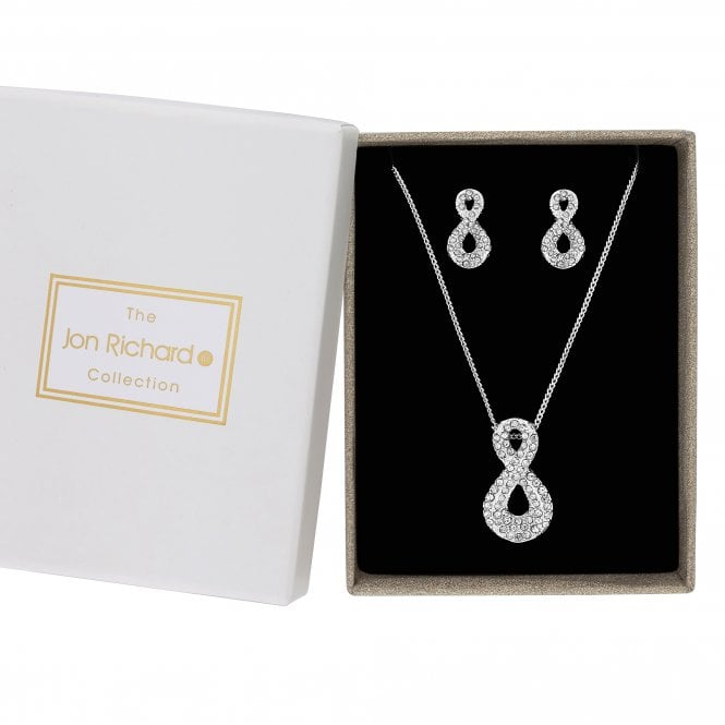 Silver Crystal Infinity Jewellery Set In A Gift Box