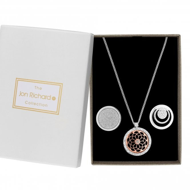 Silver Crystal Interchangeable Disc Pendant Necklace