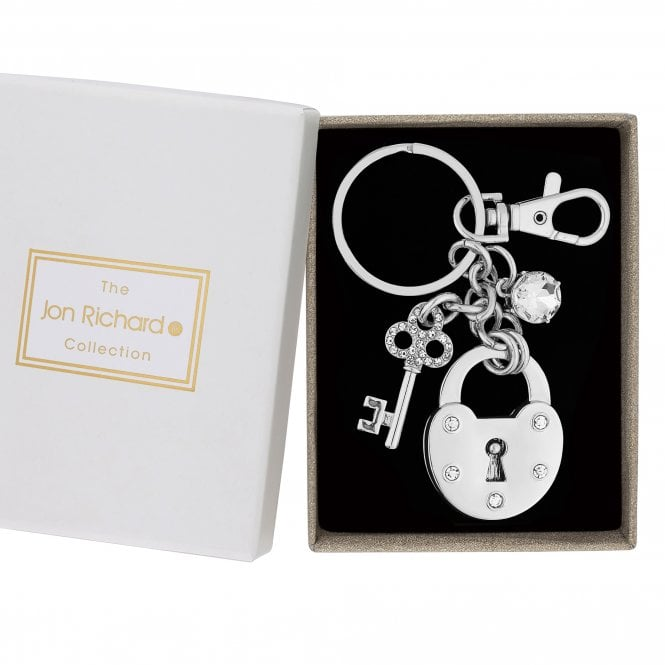 Silver Crystal Key To My Heart Keyring
