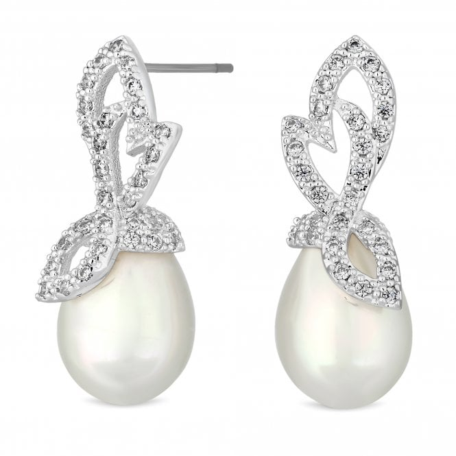 Silver Crystal Leaf Pearl Drop Earring