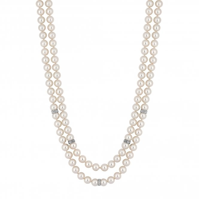 Silver Crystal Link And Cream Pearl Multi Row Necklace