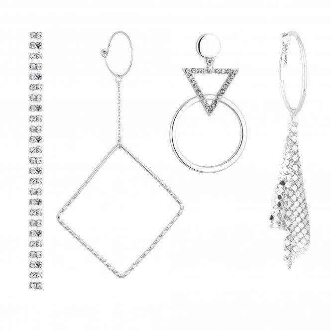 Silver Crystal Mismatch Earring Set