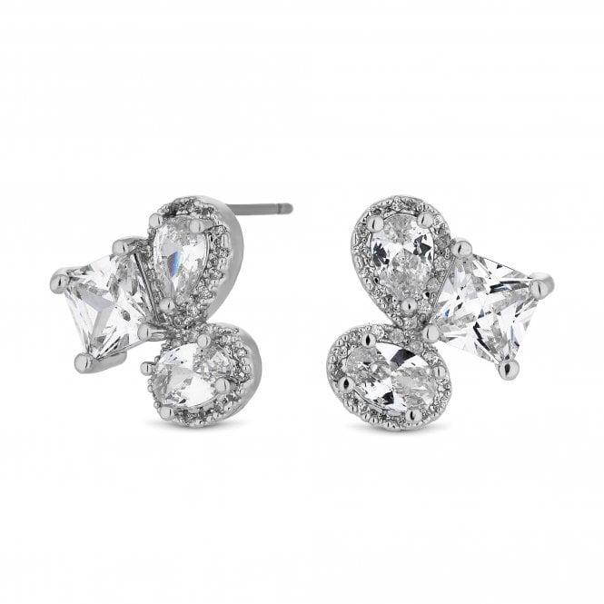 Silver Crystal Multi Shape Cluster Stud Earring