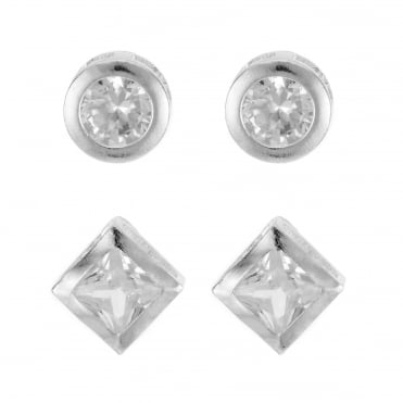 Silver crystal multi shape earring set