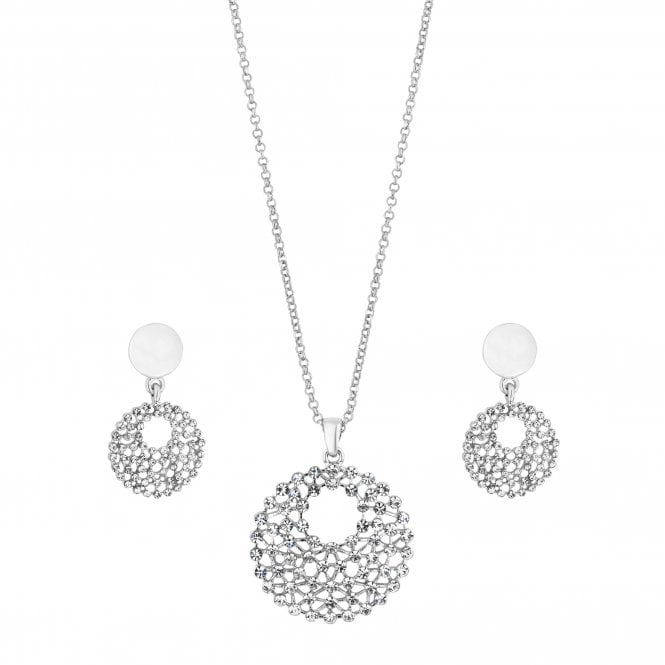 Silver Crystal Open Disc Jewellery Set