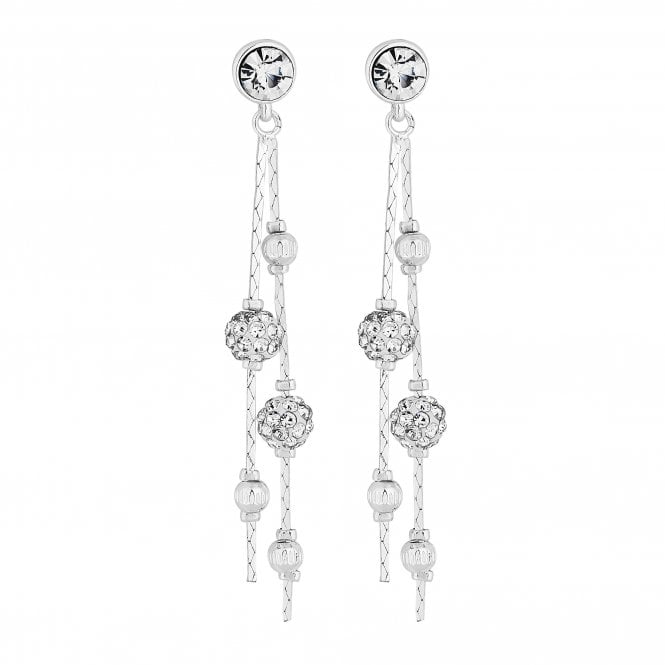 Silver Crystal Orb Drop Earring