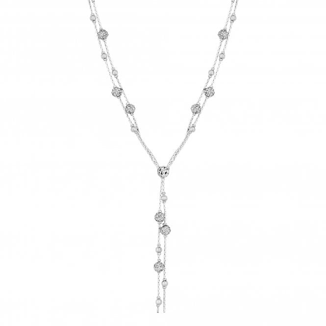 Silver Crystal Orb Lariat Necklace