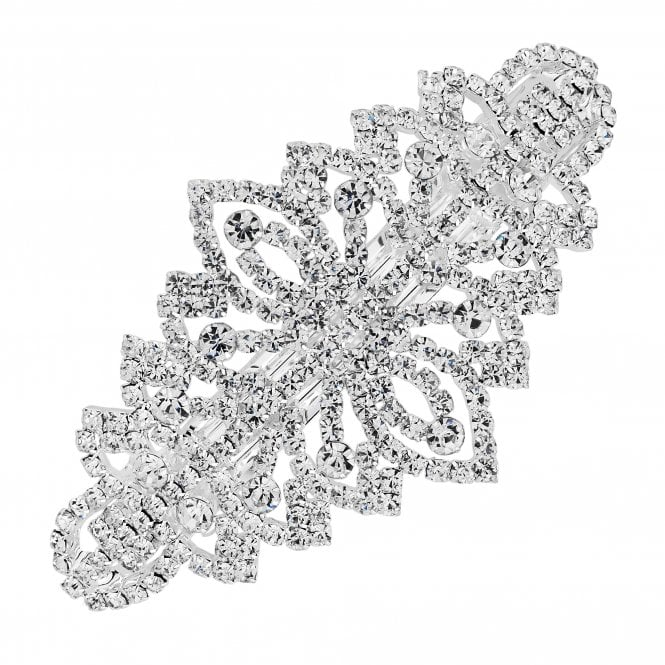 Silver Crystal Ornate Hair Clip