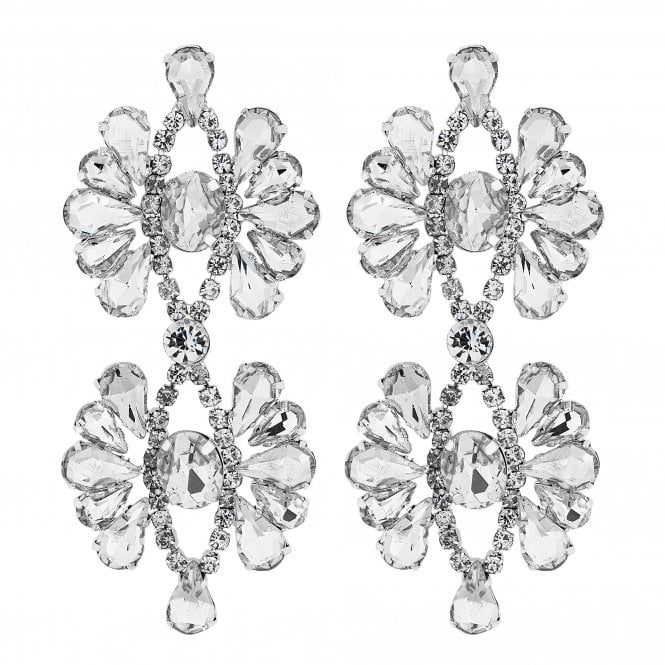 Silver Crystal Ornate Statement Earring