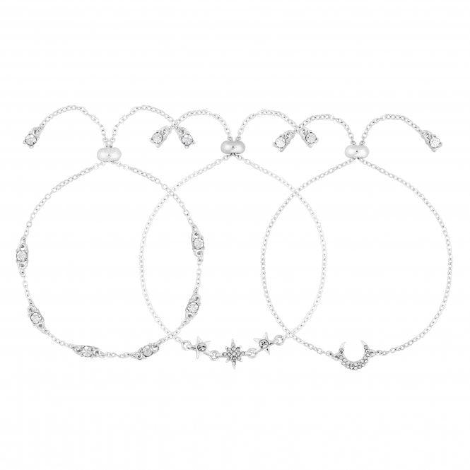 Silver Crystal Pave Celestial Bracelet Set