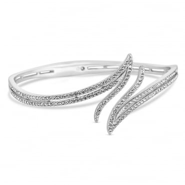 Silver crystal pave fan bangle
