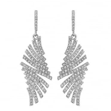 Silver crystal pave fan drop earring