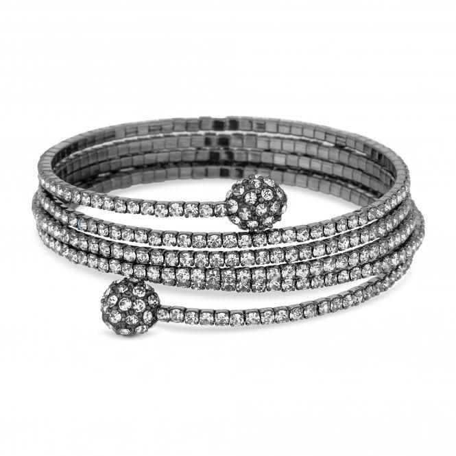 Silver Crystal Pave Orb Diamante Coil Bracelet