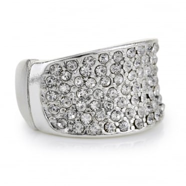 Silver crystal pave square ring