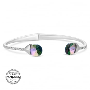 Silver crystal peardrop bangle MADE WITH SWAROVSKI CRYSTALS