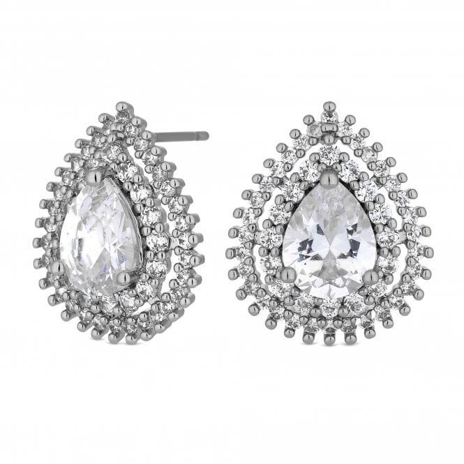 Silver Crystal Peardrop Halo Stud Earring