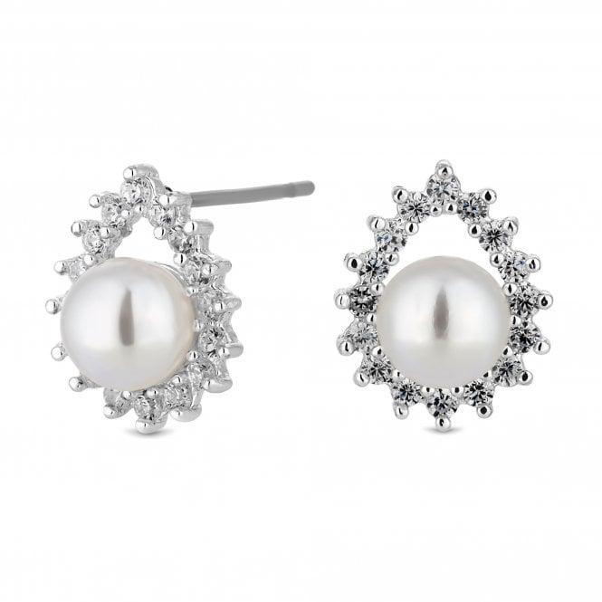 Silver Crystal Peardrop Pearl Stud Earring
