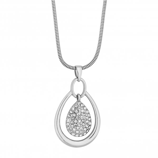 Silver Crystal Peardrop Pendant Necklace
