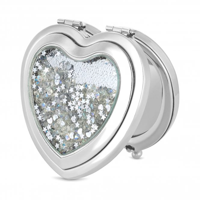 Silver Crystal Shaker Heart Compact Mirror