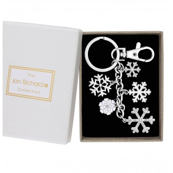 Silver Crystal Snowflake Cluster Keyring