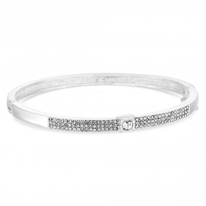 Silver Crystal Solitaire Bangle