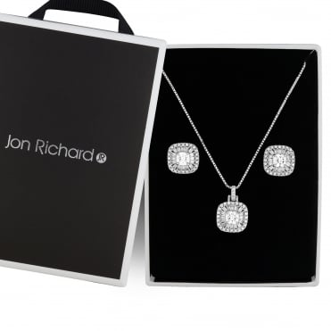 Silver crystal square jewellery set