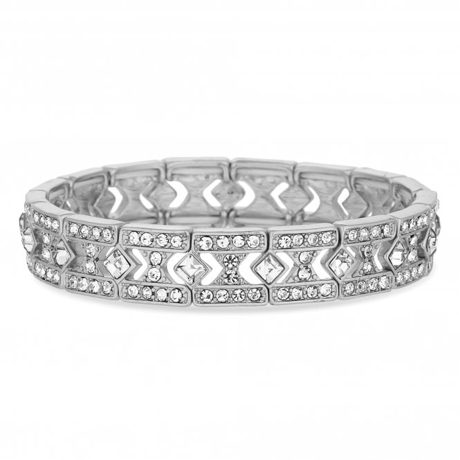 Silver Crystal Square Link Stretch Bracelet