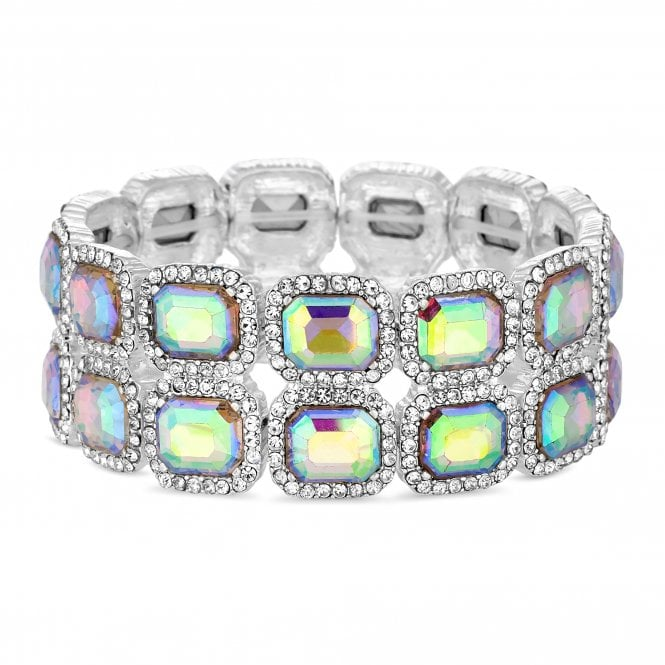 Silver Crystal Square Stretch Bracelet