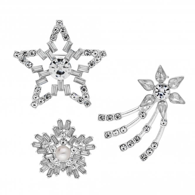 Silver Crystal Star Brooch Set
