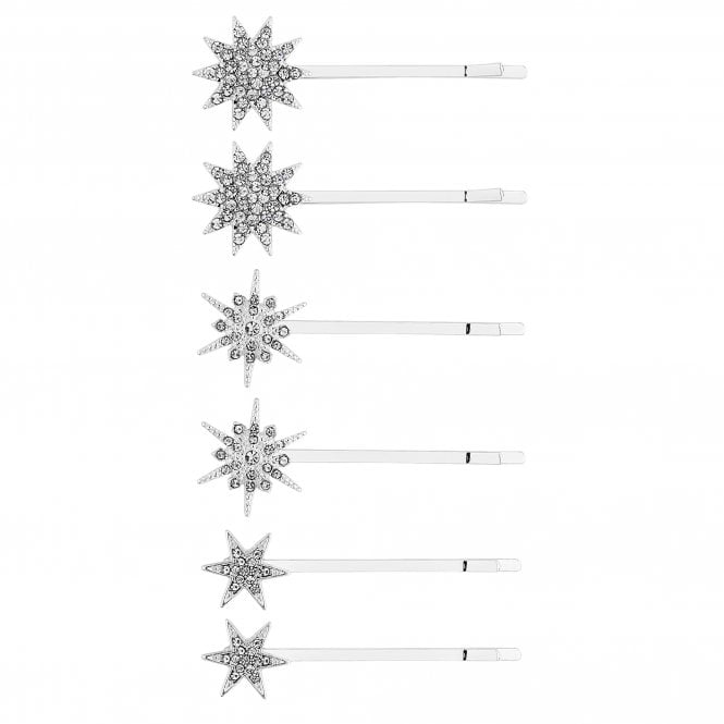 Silver Crystal Star Hair Slide Set