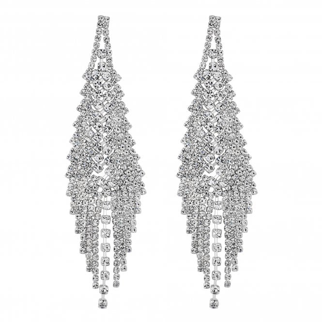 Silver Crystal Statement Drop Earring
