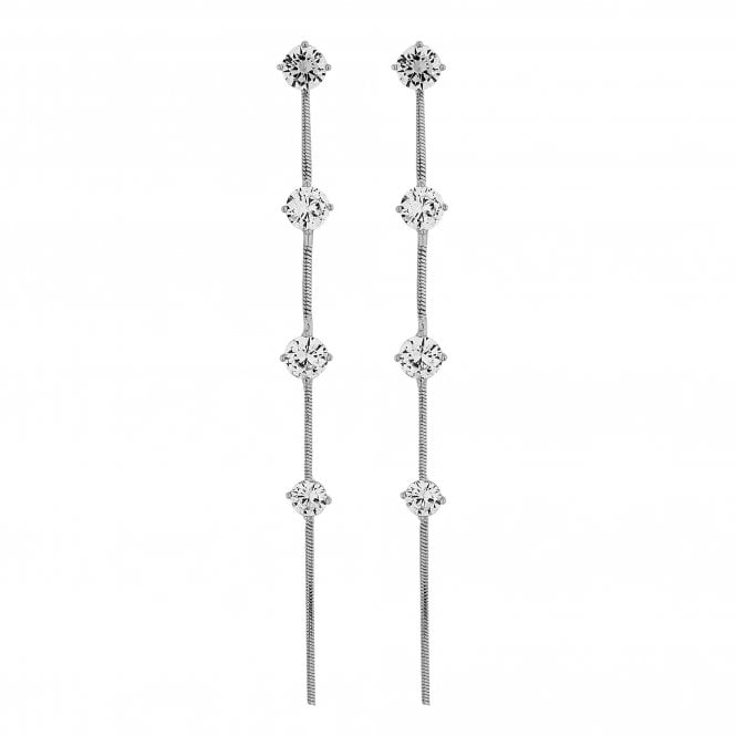 Silver Crystal Station Linear Drop Earring