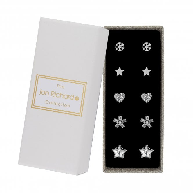 Silver Crystal Stud Earring Set