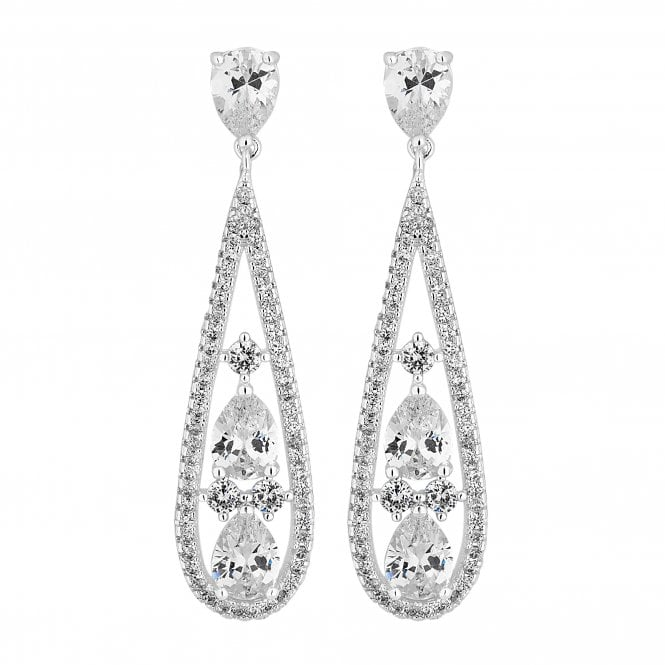 Silver Crystal Teardrop Drop Earring