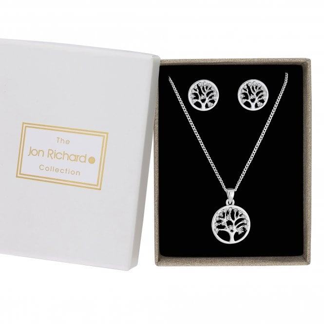 Silver Crystal Tree Of Life Jewellery Set