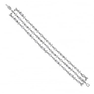 Silver crystal triple row bracelet