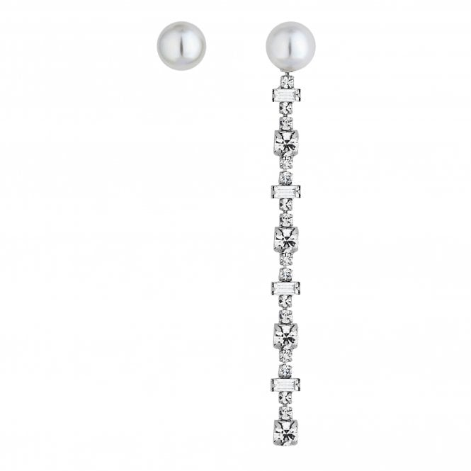 Silver Cubic Zirconia And Pearl Mismatched Drop Earring