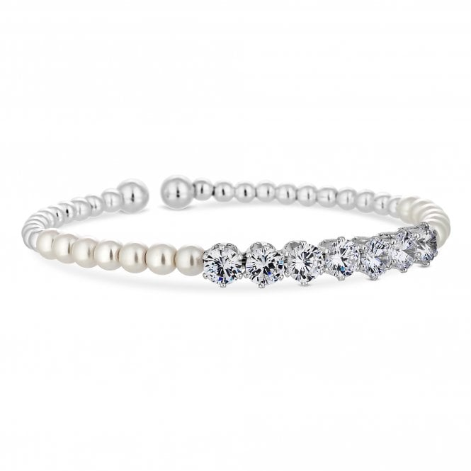 Silver Cubic Zirconia And Pearl Twist Cuff Bracelet
