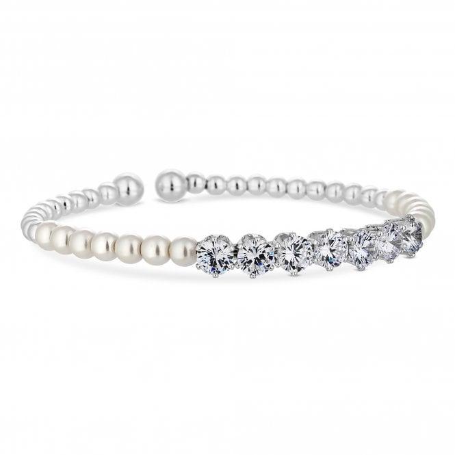 Silver Cubic Zirconia And Pearl Twist Cuff Bracelet