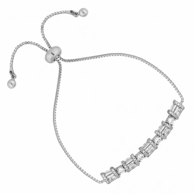 Silver Cubic Zirconia Barrel Toggle Bracelet